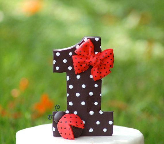 Fondant cake topper  Number 1 with ladybug and polka by HappyCaker