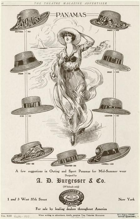 edwardianera:A few sugestions in outing and sport panamas for mid-summer wear. (1911)