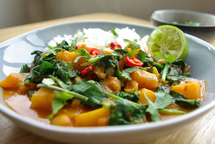 Child friendly chick pea, spinach and squash curry