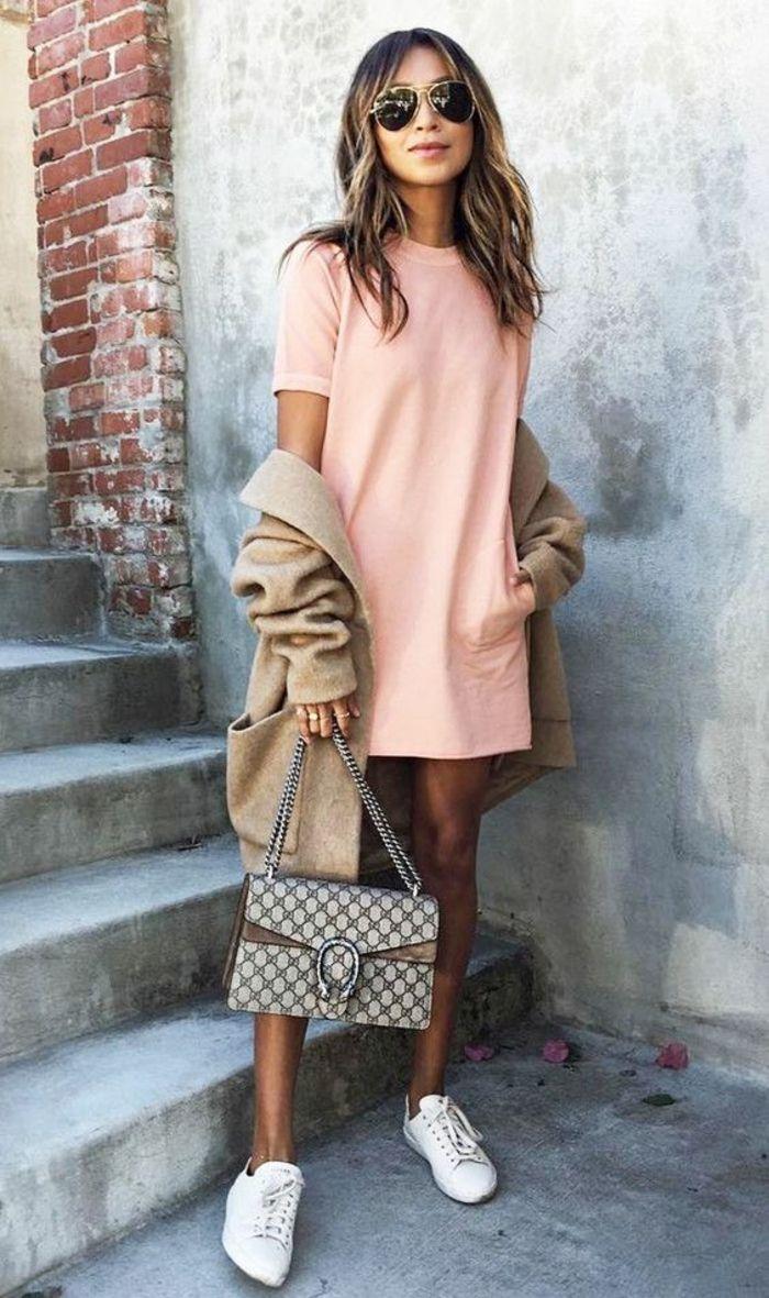 Fille bien habillée tenue lycéenne mode 2017 ootd robe rose
