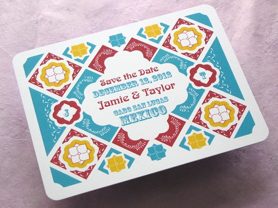 Mexican-inspired save the dates for a destination wedding. Etsy. @GloMSN http://www.etsy.com/listing/80637604/save-the-date-postcard-mexican-talavera