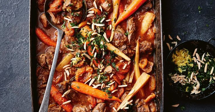 This tagine is slow-cooked in the oven to create meltingly tender lamb. Serve on a bed of fluffy couscous.