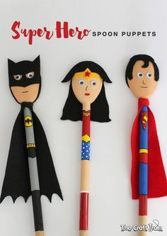 Super Hero Spoon Puppets created to look like Batman, Wonder Woman and Superman. Cool DIY toys for kids!