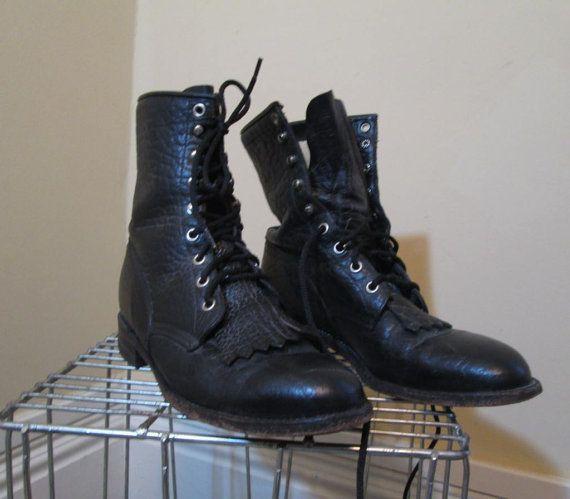 Vintage Justin laarzen zwart Roper laarzen door funkomavintage
