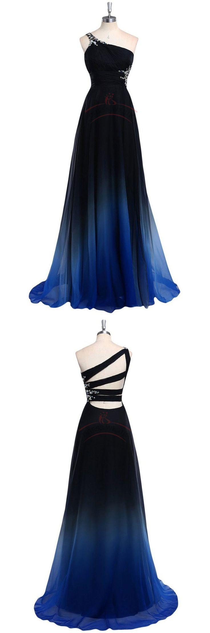 Gorgeous One-Shoulder Prom Dresses,Gradient Color Prom Dresses,Beading Prom Dresses,Ball Gown Prom Dresses