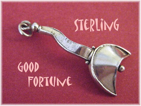 Good Fortune ~ Sterling Silver Contemporary Artisan Pendant ~ Fortune Cookie 1980s New Age  @@ FREE SHIPPING @@