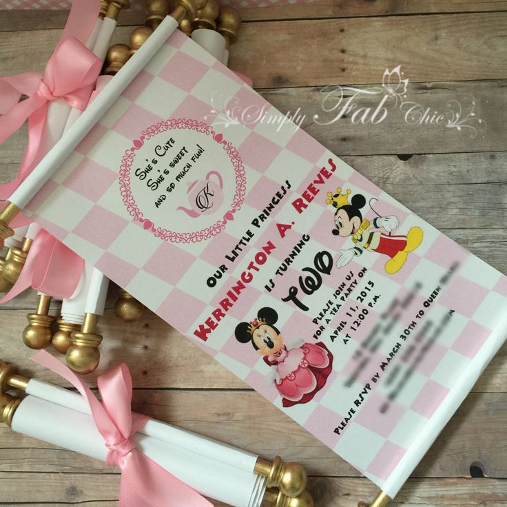 Royal Tea Party Princess Minnie Mouse Scroll Invitation Birthday Invitation Handmade Personalized Prince Christening Birth Annoucement by SimplyFabChic on Etsy https://www.etsy.com/listing/224931715/royal-tea-party-princess-minnie-mouse