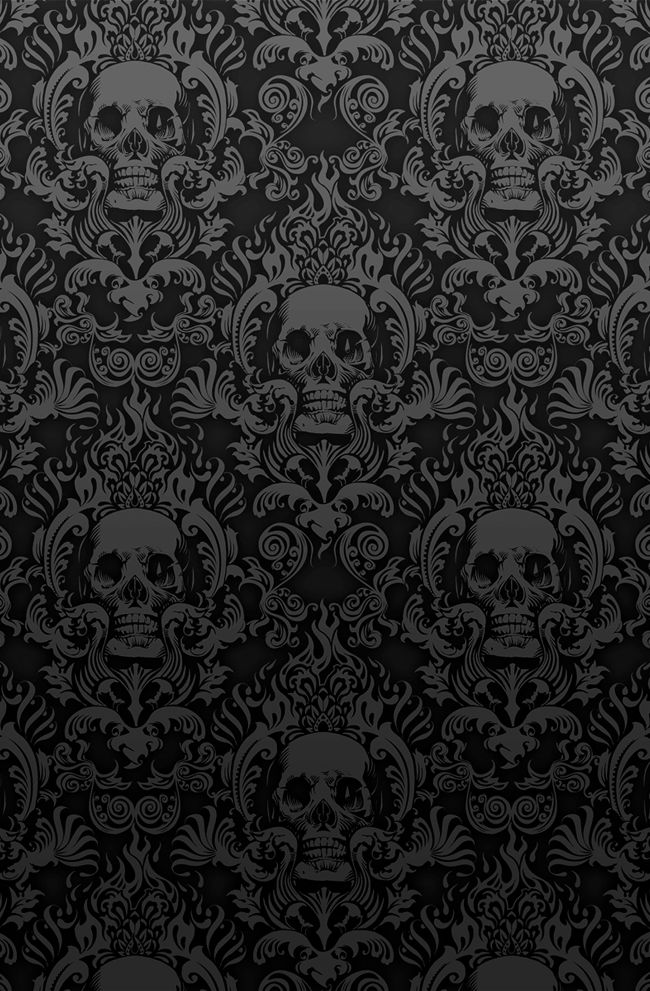 Black Skull Damask Wallpaper