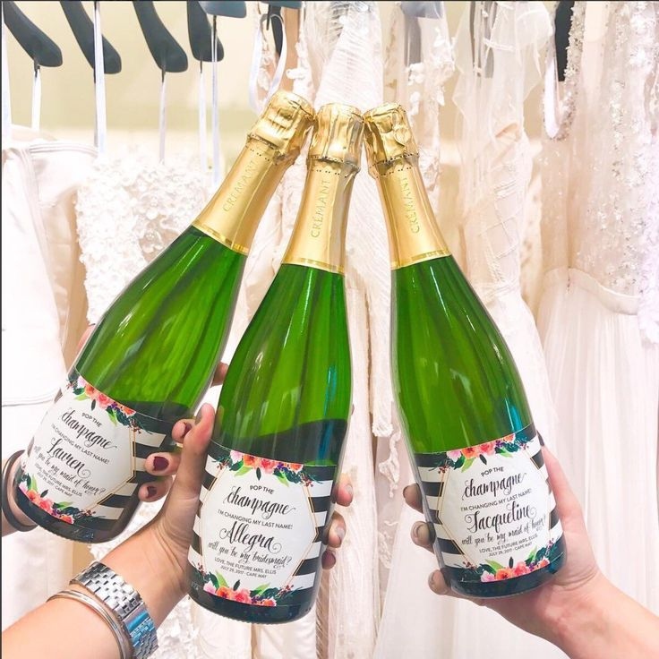 """Pop the bubbly she's getting a hubby! What a memorable day for Gardenia Bride Jeannie! Not only did she pick up some gorgeous bridesmaids but she also said """"Yes to the Dress!"""" 👰👯🍾Thank you for sharing your bridesmaid proposal with us!"""