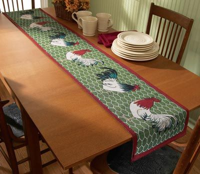 Discount Country Rooster Kitchen Decor | Country Rooster Table Runner From  Collections Etc.