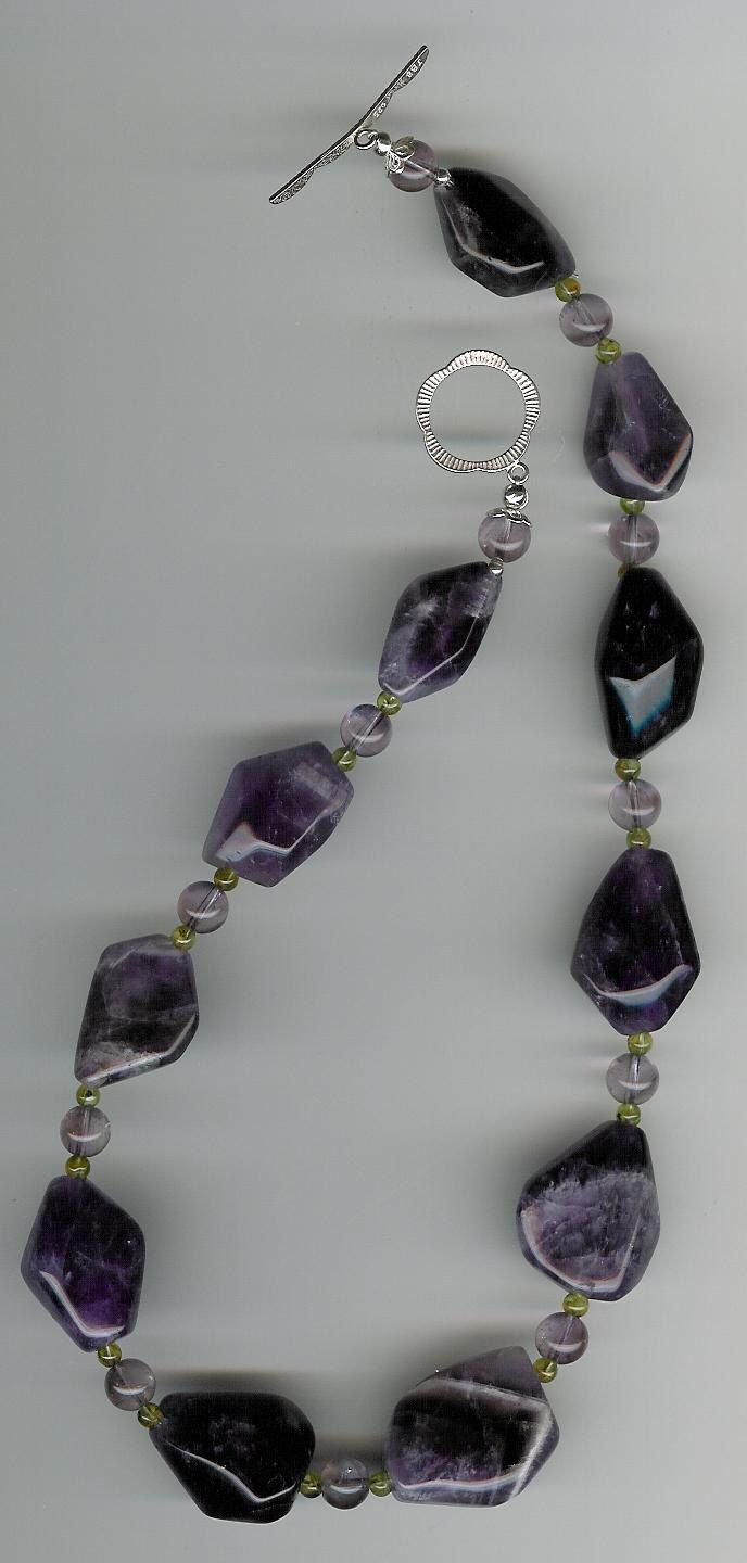 Amethyst Peridot Sterling Silver Necklace amethyst necklace ooak necklace ooak amethyst unique amethyst peridot necklace february gemstone february birthday february birthstone one kind amethyst amethyst and peridot statement necklace statement jewelry 60.00 USD #goriani