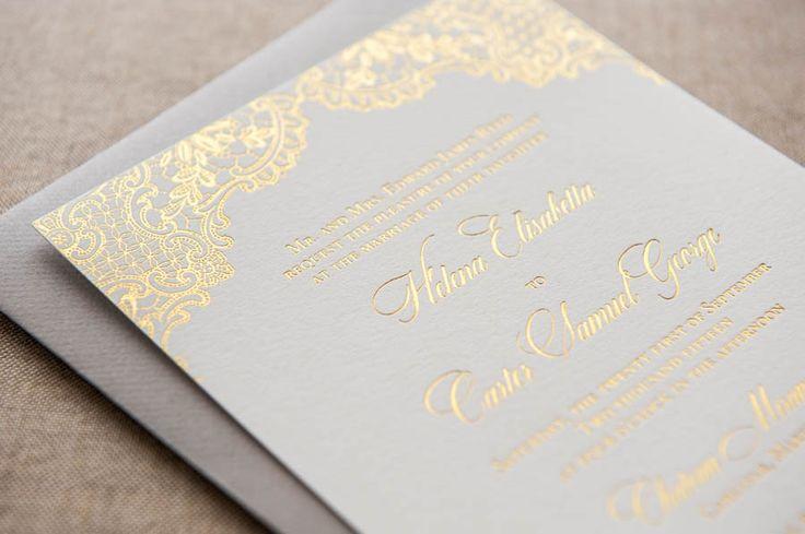 Foiled Invitations // Perla Foiled Wedding Invitation // Foil, gold, lace, delicate, pretty, feminine invitation