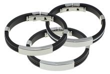 US $1.01 YYW Jewelry Fashion Punk Men Jewelry Bracelet Stainless Steel Cuff Bangle Hand Chain Black Silicon Wristband. Aliexpress product