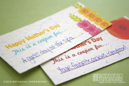 Mother's Day seed paper coupons, comes on a free printable sheet! http://goo.gl/0DFLF: Mothers, Paper Coupons, Seed Paper, Free Samples, Holiday Crafts, Printable Sheet, Free Printables