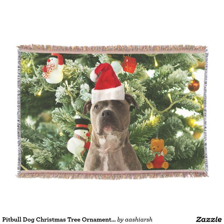 #Pitbull #Dog #Christmas Tree #Ornaments Snowman Throw #Blanket