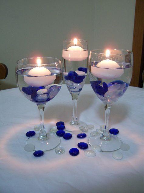 Blue and Yellow Wedding Centerpieces   Valentine's blog: Wedding Party Decor Sneak Peak