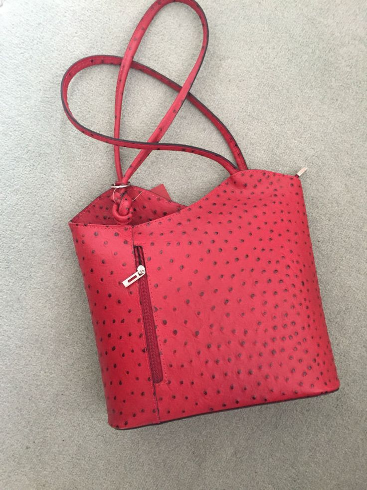 Handbag/Rucksack by Bagitali of Italy Red Dimpled Italian Leather