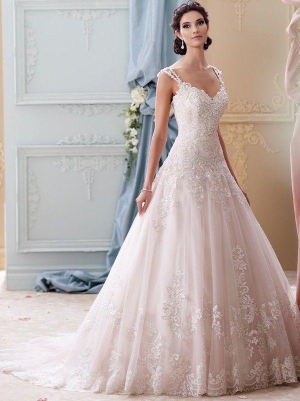 Ball Gown Straps Neckline Court Train Lace Wedding Gown With Applique