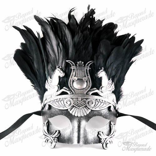 Mens Silver Greek Masquerade Mask - Roman Warrior Venetian Mask with Feathers…