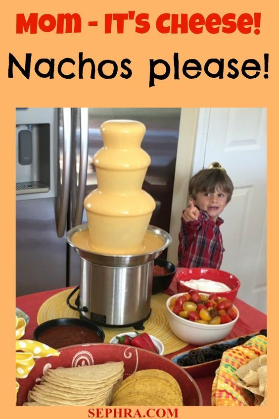 Celebrate Cinco de Mayo by indulging in a CHEESE FONDUE fountain! Create yummy nachos, a taco bar - everything is yummier with cheese fondue. Great for a Mexican Fiesta, Quinceañera or any party with food! The cheese fondue comes all ready to go. Just add to the fondue fountain and turn it on. Hello Nachos!  Be sure to start with a Sephra Fondue Fountain. We used the Sephra Select - only $69.99 https://www.sephra.com/16-select-home-fondue-fountain-brushed-stainless-steel-model-cf16e-sst.html