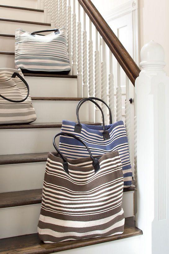 Rugby Stripe Light Blue Indoor/Outdoor Tote Bag
