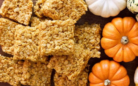 Pumpkin Spice Rice Krispie Treats  serves 12    3 tablespoons unsalted butter  1/4 cup canned pumpkin puree  1 (10 ounce) bag mini marshmallows plus one cup  1/4 teaspoon pure vanilla extract  1/4 teaspoon ground cinnamon  Pinch of allspice  Pinch of freshly grated nutmeg  Pinch of kosher salt  6 cups crispy rice cereal