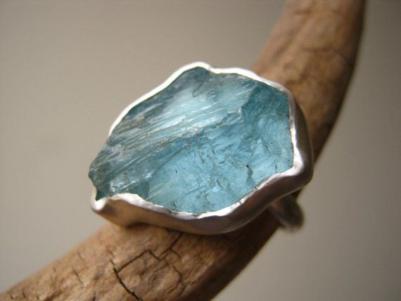 Big Rough Aquamarine  Ring Sterling Silver by metalmorphoz
