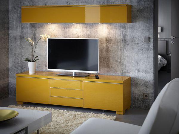 sjour avec tagre murale et banc tv avec tiroirs le tout en jaune brillant - Meuble Tv Jaune Ikea