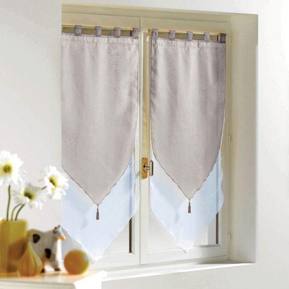 Paio di tende trasparenti (45 x H90 cm) Bicolore Grigio : scegli tra tutti i nostri prodotti Tenda a vetro