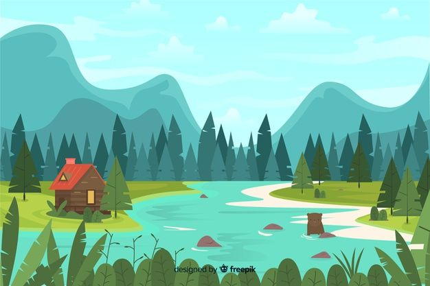 Flat Design With Natural Landscape Free Free Vector Freepik Freevector Background Design Na Poster Background Design Nature Vector Background Design