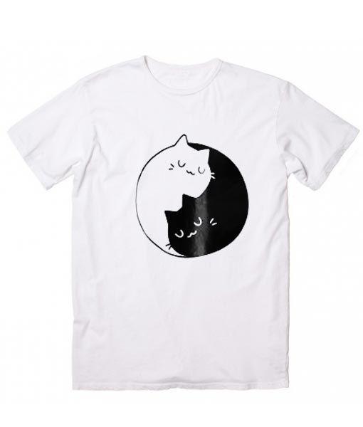 Cat Ying Yang T-Shirt, Custom T Shirts No Minimum  Funny t