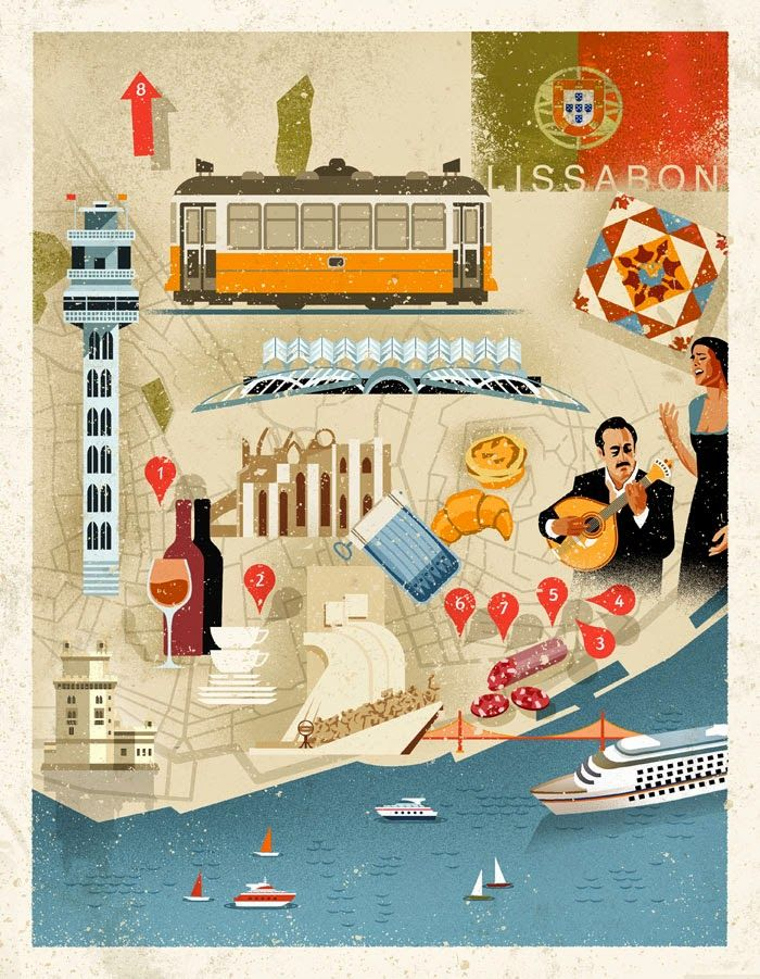 Lisbon Map by Dieter Braun. Discover restaurants, bars, shops, clubs & cultural hotspots that locals love in Lisbon: www.10thingstodo.in