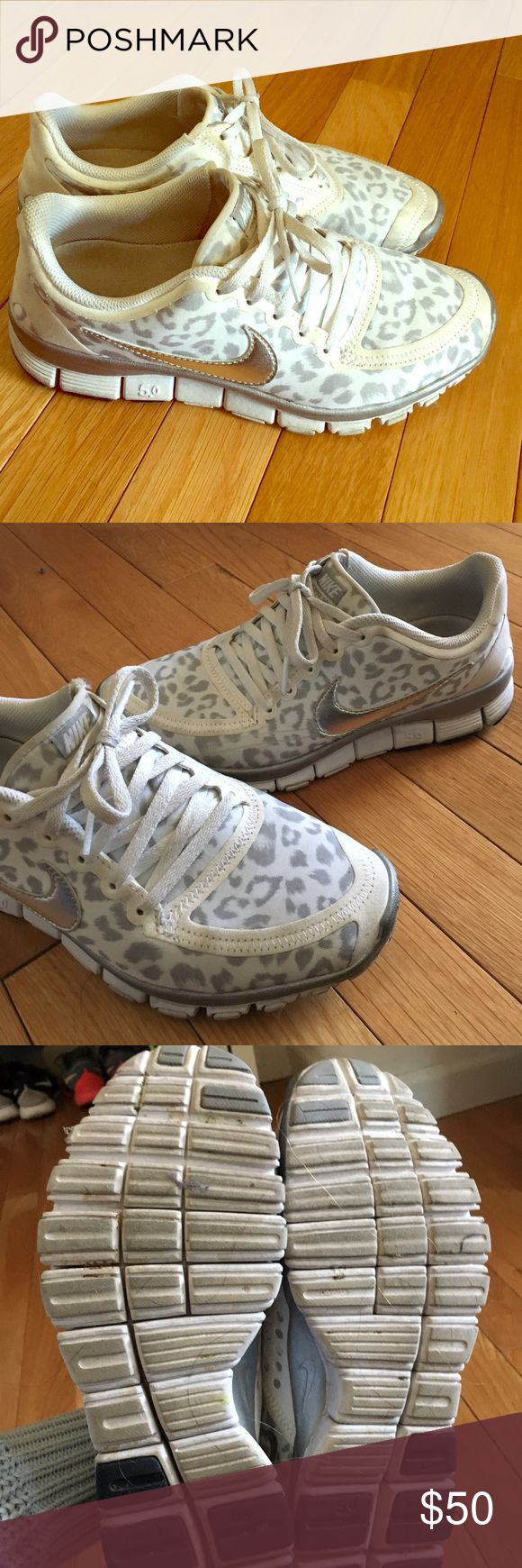 Leopard Print Nike Free Run White and gray leopard print Nike free run 5.0 sneakers. Has small scuff on left toe see pictured. But barely noticeable. Worn a handful of times in the gym only. Shoes Sneakers