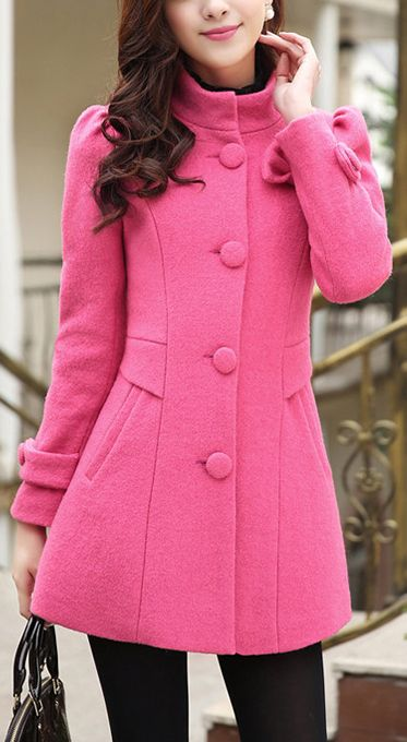 Pink coat... since winter is never ending!