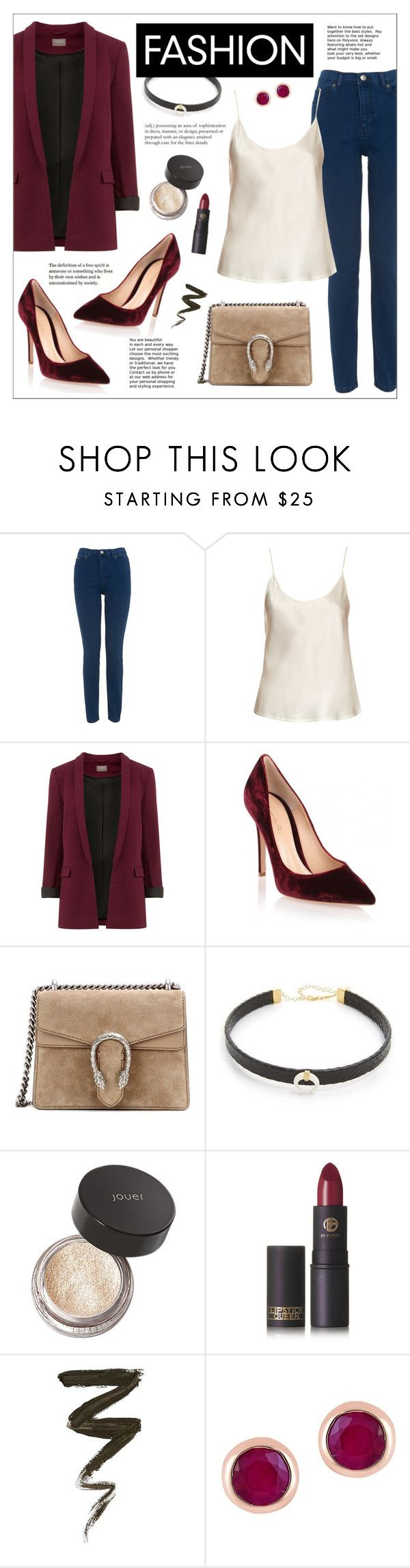 """Fall Trends: Velvet Shoes and Choker"" by ms-mandarinka ❤ liked on Polyvore featuring Whistles, La Perla, Gianvito Rossi, Gucci, Jacquie Aiche, Jouer, Lipstick Queen and Effy Jewelry"