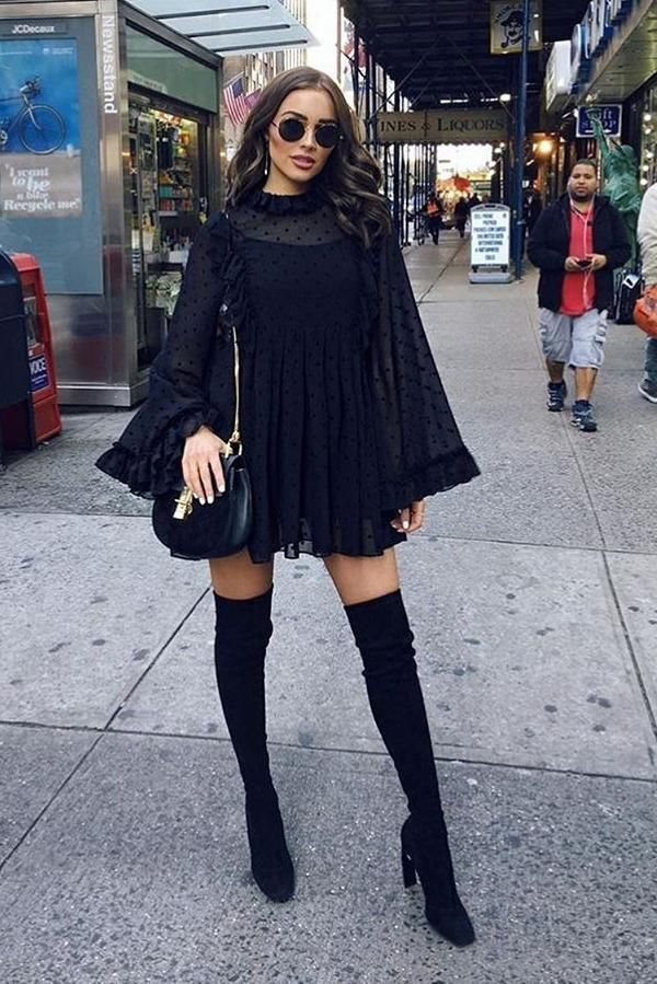 Olivia Culpo wearing Chloe Drew Small Suede and Leather Crossbody Bag and See by Chloe Ruffled Flocked Georgette Mini Dress