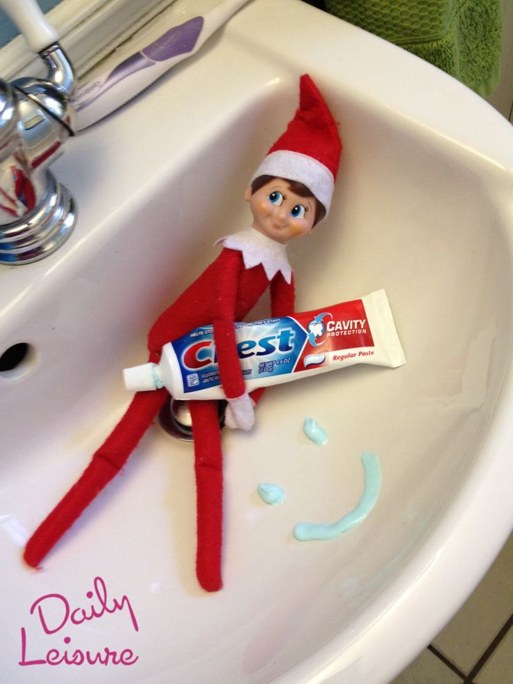 Elf On The Shelf- Make a Smiley Face with Toothpaste