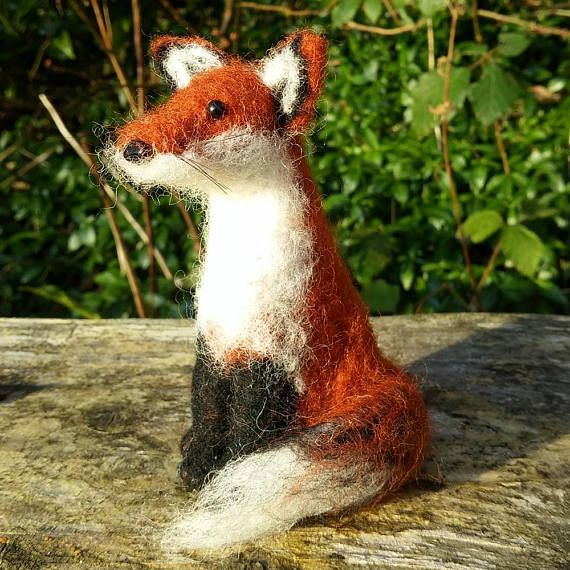 Fox needle felted soft sculpture wool woodland animal ornament felting handmade red fox gift collectable miniature animal