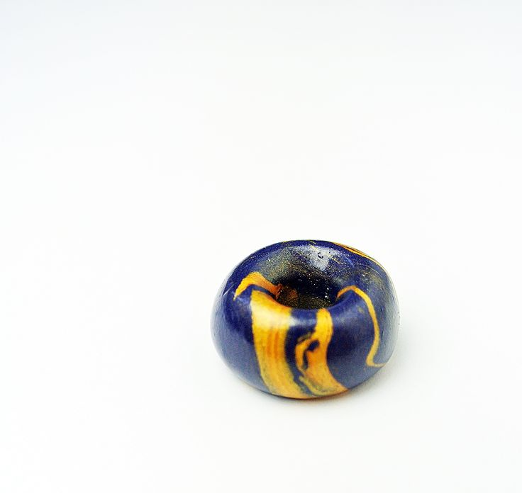Clay bead, handmade painted.