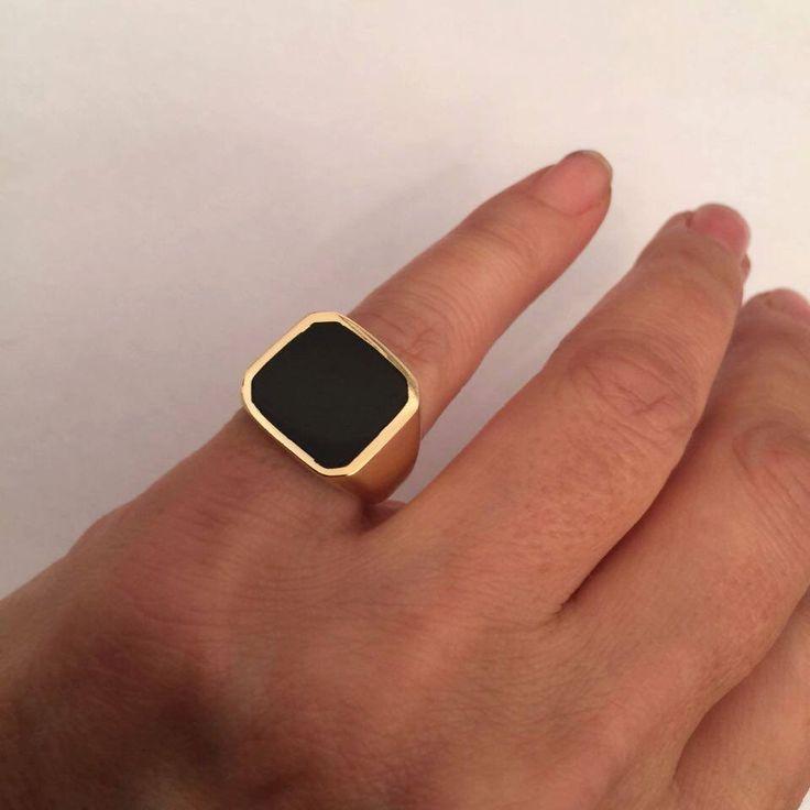Signet Ring, Onyx Ring, women ring, men ring, Black Onyx Ring. Gold Signet Ring, Black square Signet Ring, Man Pinky Ring, Woman Pinky Ring by Limajewelry on Etsy https://www.etsy.com/listing/260381332/signet-ring-onyx-ring-women-ring-men