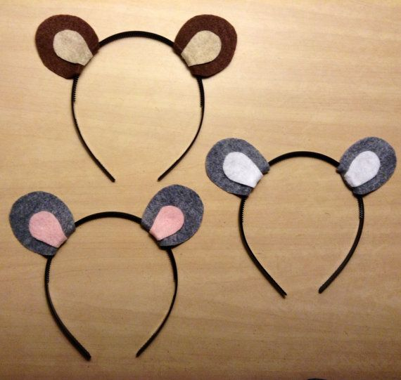 1 Headband Bear Squirrel Chipmunk Mouse Rat Ears Headband