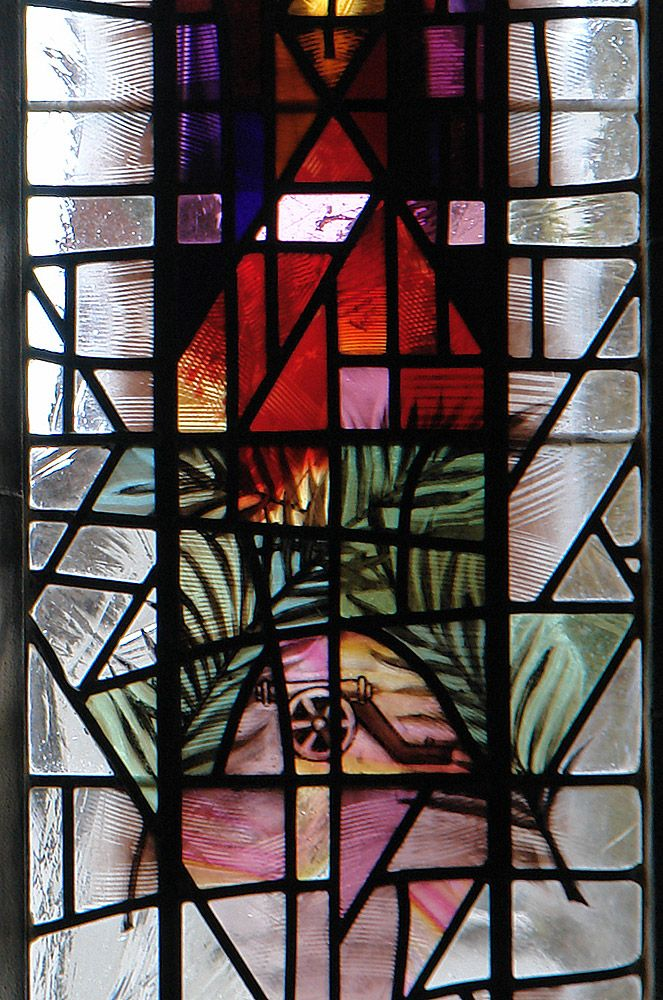 Artist: Derek Hunt - St. Barbara's Church, Earlsdon detail of two crossed palm leaves with cannon from right lancet