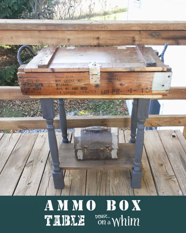 Side Table Built with an Ammo Box @DeniseOnAWhim #repurposed
