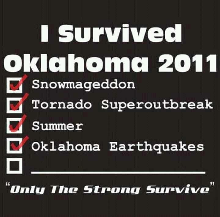 Oklahoma Survival Checklist! although i wasnt here for the snow but we did get our fair share of it in MO.