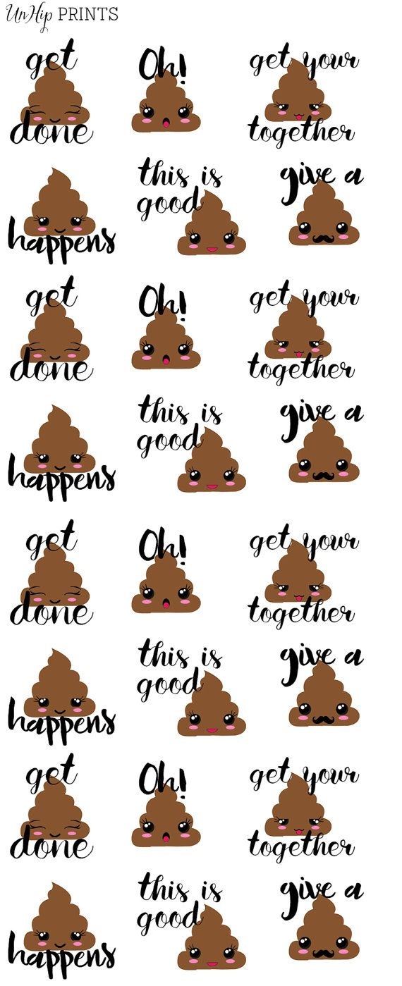 Poop emoji Stickers, Planner Stickers, Inspirational Stickers, Kawaii Stickers, Decorative Stickers, Cute Stickers, Adult Stickers (#0209) Más