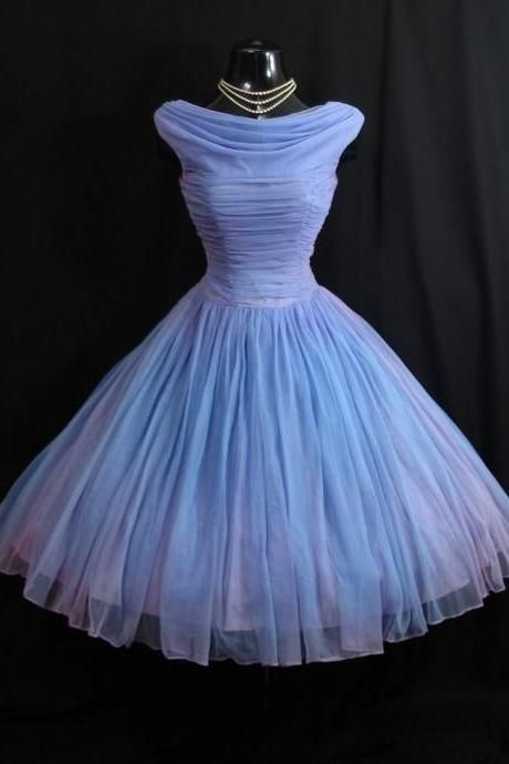 2015 Prom Dresses Vintage 1950s Blue Crew Cap Sleeves Mini Short Tulle Formal Prom Dress Party Gowns