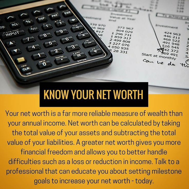 Know Your Net Worth: Your net worth is a far more reliable measure of wealth than your annual income. Net worth can be calculated by taking the total value of your assets and subtracting the total value of your liabilities. A greater net worth gives you more financial freedom and allows you to better handle difficulties such as a loss or reduction in income. Talk to a professional that can educate you about setting milestone goals to increase your net worth - today. #networth #finance…