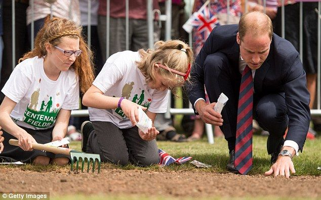 After laying the wreath, the prince - and some local children - planted poppy seeds in the park  ~~ July 16, 2014