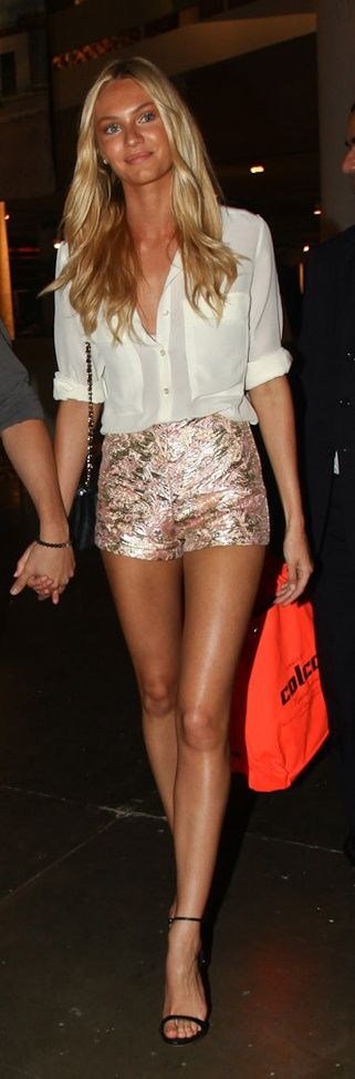 sparkle shorts. strappy heels! love!