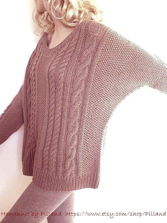 Hand Knit Sweater Bat sleeves Open neckline tunic by Pilland